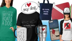 store with hats, stickers, mugs, t-shirts, phone covers and dog stuff